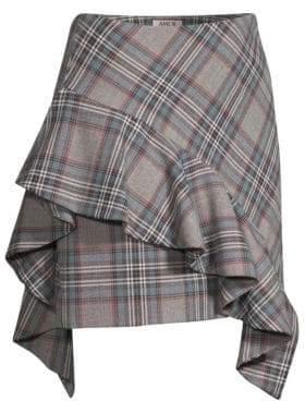 AMUR Emi Ruffled Plaid Mini Skirt