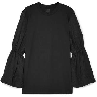 Mother of Pearl Cassandra Organic Cotton-jersey And Embroidered Voile Top - Black