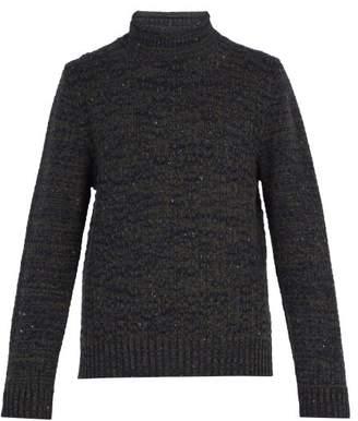 Inis Meáin Inis Meain - Melange Roll Neck Sweater - Mens - Navy Multi