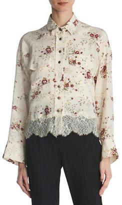 The Kooples Floral Lace-Hem Silk Shirt