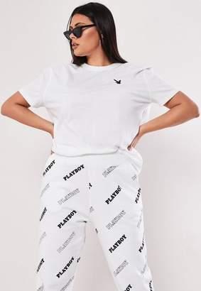 ef33fa32b2bda Missguided Playboy X Plus Size White Slogan Back T Shirt