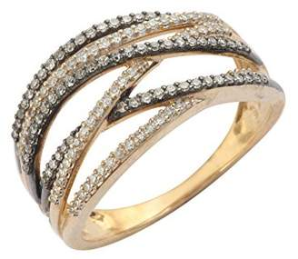 Prive Pave 9ct White Gold with Black and White Diamonds Wave Cross Ring - Size P