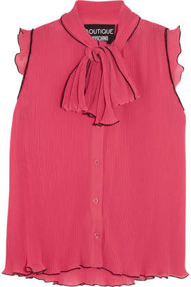 Boutique Moschino - Pussy-bow Ruffled Plissé-chiffon Blouse - Fuchsia $350 thestylecure.com