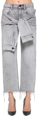 Alexander Wang Self Tie Cropped Straight Leg Jeans