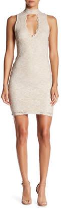 Jump Sleeveless Metallic Lace Dress