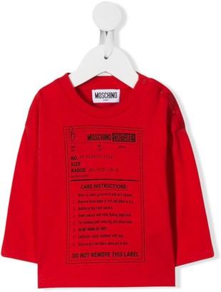Moschino Kids label print T-shirt