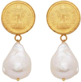 Carousel Jewels - Antique Coin and Pearl Earrings