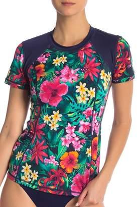 Tommy Bahama Active Jungle Short Sleeve Floral Rash Guard