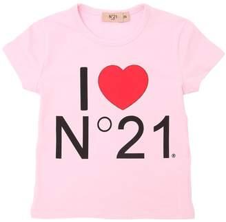 N°21 Logo Printed Cotton Jersey T-Shirt
