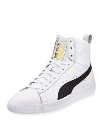 Puma Men's Clyde Mid Core High-Top Leather Sneakers, White/Black