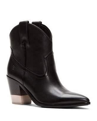 Frye Faye Short Polished Leather Cowboy Boots with Chevron Heel