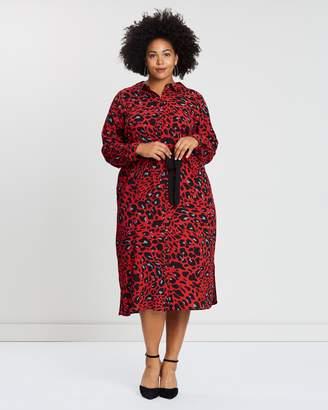 Evans Midi Leopard Shirt Dress