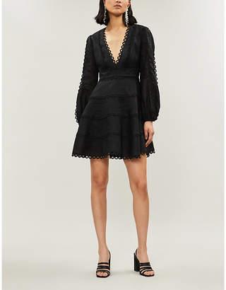 Zimmermann Black Noir Floral Heathers Linen Dress