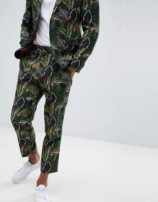 Asos Design DESIGN tapered suit pants in green botanical print in linen look