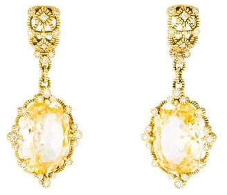 Judith Ripka 18K Canary Crystal & Diamond Drop Earrings