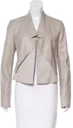 Halston Leather Open-Front Jacket