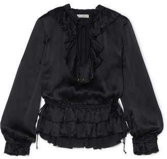 Ulla Johnson Maisie Ruffled Crinkled Silk-satin Blouse - Black