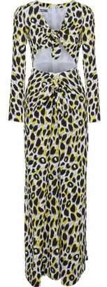 Moschino Cutout Leopard-Print Cady Maxi Dress