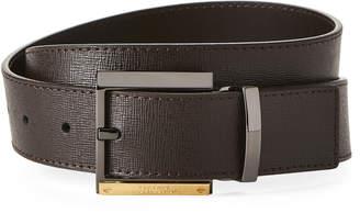 Versace Saffiano Leather Gold-Tone Logo Buckle Belt