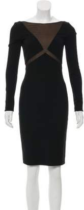 Emilio Pucci Mesh-Trimmed Knee-Length Dress Black Mesh-Trimmed Knee-Length Dress