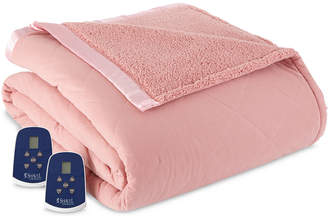 Shavel Reversible Micro Flannel to Sherpa Queen Heated Blanket Bedding