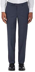 Barneys New York MEN'S VOYAGER WOOL-BLEND FLAT-FRONT TROUSERS-BLUE SIZE 34