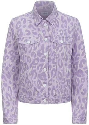 7 For All Mankind Leopard Print Denim Jacket