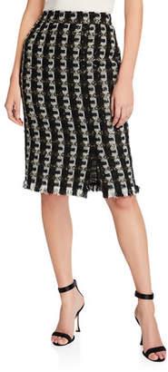 d4863890f Oscar de la Renta Shimmer Check-Tweed Pencil Skirt