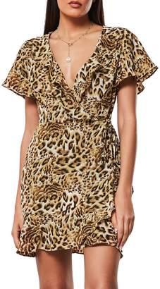 Missguided Animal-Print Mini Wrap Dress