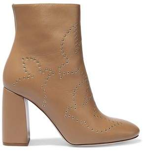 RED Valentino Eyelet-Embellished Leather Ankle Boots