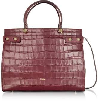 Furla Croco Embossed Leather Lady M Medium Tote Bag