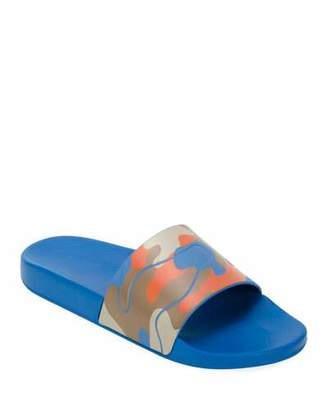 Valentino Men's Camo Slide Sandal, Orange Pattern