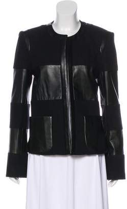 L'Agence Wool Leather-Trimmed Jacket