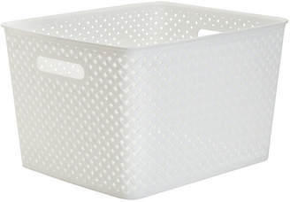 KENNEDY INTERNATIONAL Resin Wicker Storage Tote White-Large 13.75 X 11.50 X 8.75- Basket Weave