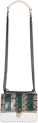 Fendi Mini Kan Scallop Genuine Snakeskin & Leather Shoulder Bag