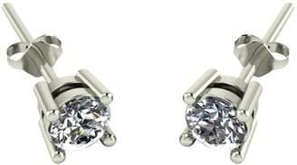 Moissanite 50 Point 9 Carat White Gold Solitaire Earrings