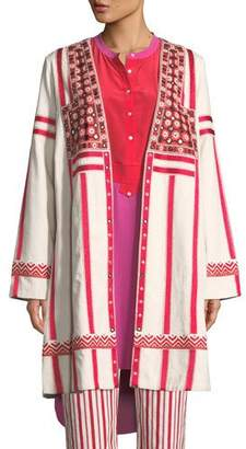 Figue Liraz Striped Open-Front Caban Jacket with Embroidered Yoke
