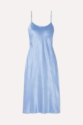 Vince Hammered-satin Midi Dress - Blue