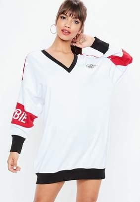 Missguided Barbie x White V Neck Oversized Sweatshirt Dress