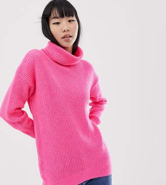 New Look roll neck jumper in pink neon