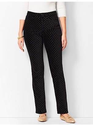 Talbots High-Rise Straight-Leg Velveteen Pants - Dot/Curvy