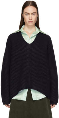 Acne Studios Navy Wool Deborah V-Neck Sweater