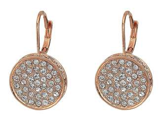 Vince Camuto Rose Gold Pave Round Leverback Earrings