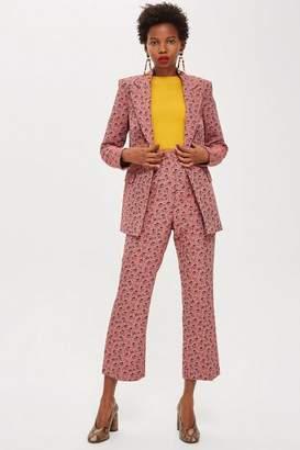 Topshop Floral Print Jacquard Kick Flare Trousers