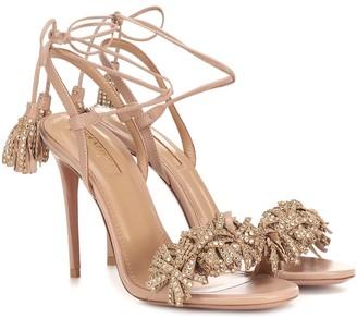 Aquazzura Wild Crystal 105 leather sandals