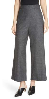 Rebecca Taylor Wide Leg Crop Wool & Silk Blend Trousers