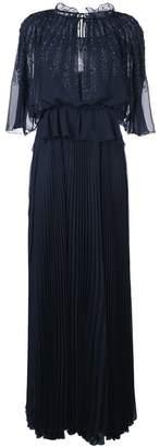 Talbot Runhof ビーズ装飾 プリーツロングドレス