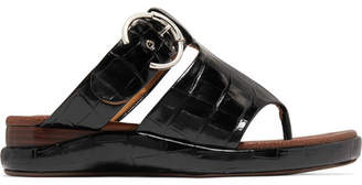 Chloé Wave Croc-effect Leather Sandals - Black