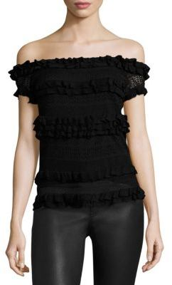Polo Ralph Lauren Ruffle Off-The-Shoulder Top $245 thestylecure.com