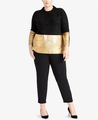 Rachel Roy Trendy Plus Size Metallic Sweater
